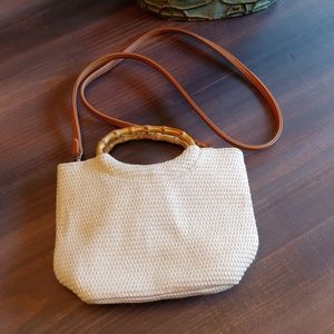 Mini Fossil knit bag with bamboo circle handle